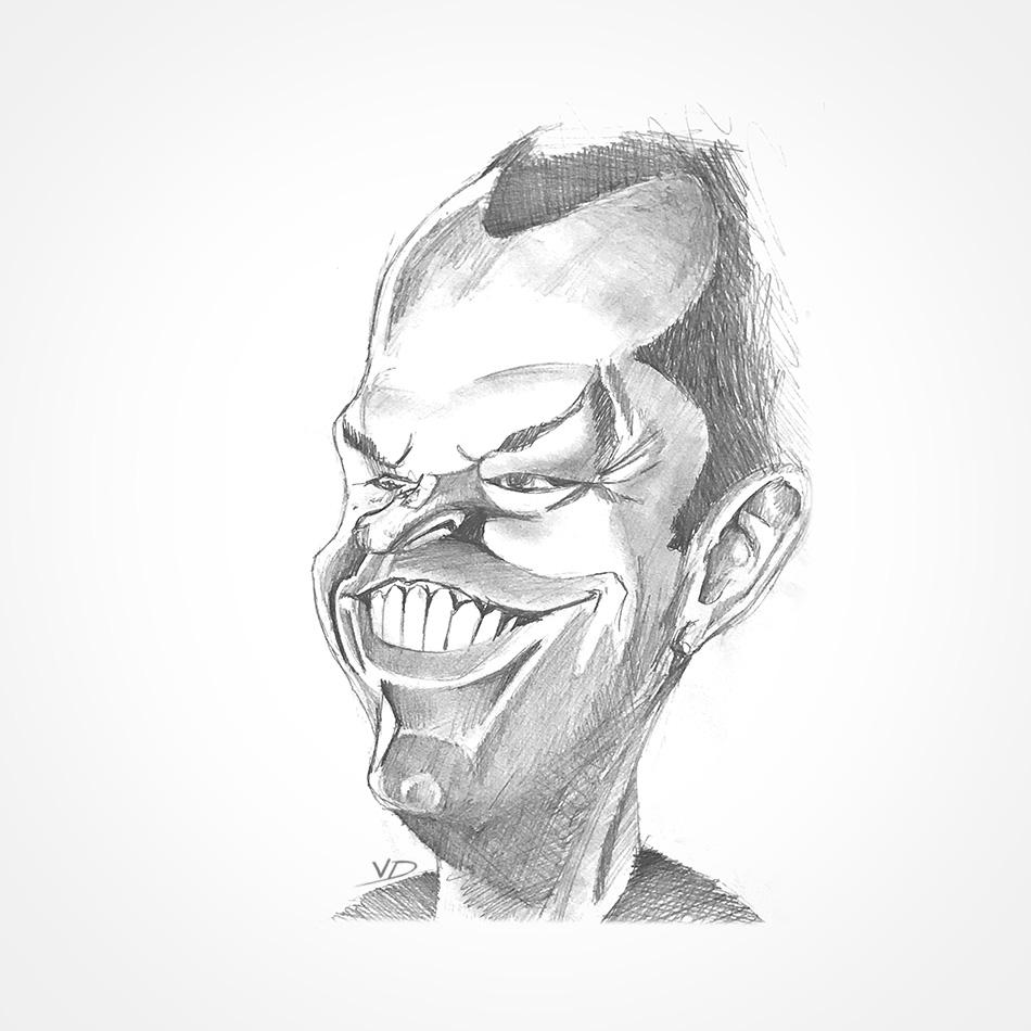 2004 - pen - HB - fusain - caricature - jack Nicholson - crayon
