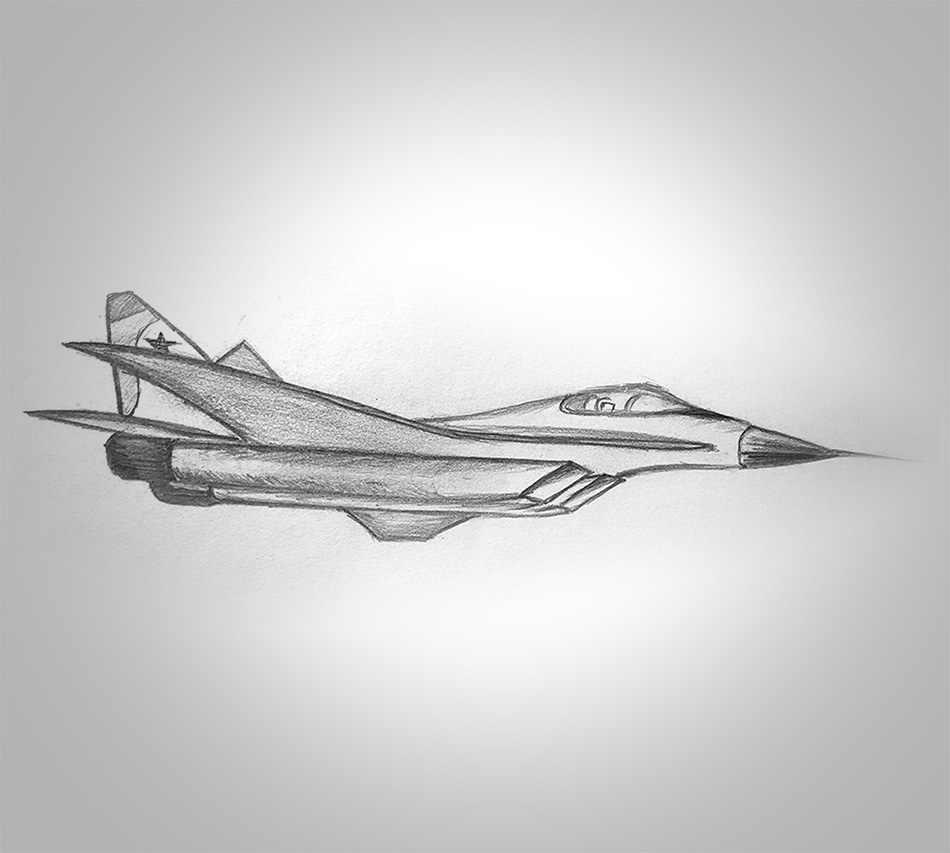 Mig29 - chasseur - crayon - 1997 - papa - liano - 1997 - vivien - durisotti - design - experience