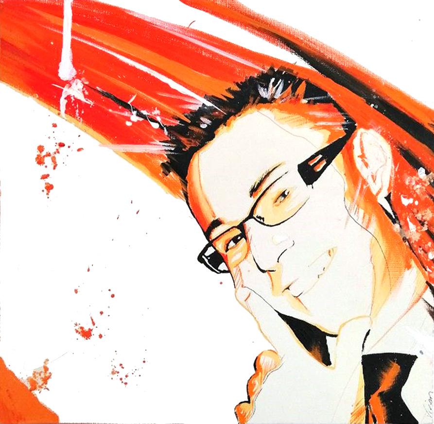 portrait Jean David en 2010 - dessin duo avec Nathalie portrait - 2010 - Nathalie - peinture - huile - acrylique - durisotti - vivien - design - experience - durisotti vivien