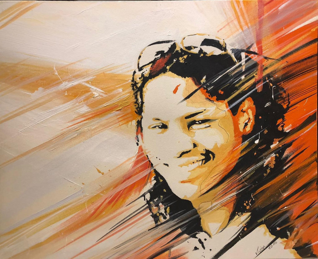 portrait Christelle - 2010 - peinture - huile - acrylique - durisotti - vivien - design - experience - durisotti vivien