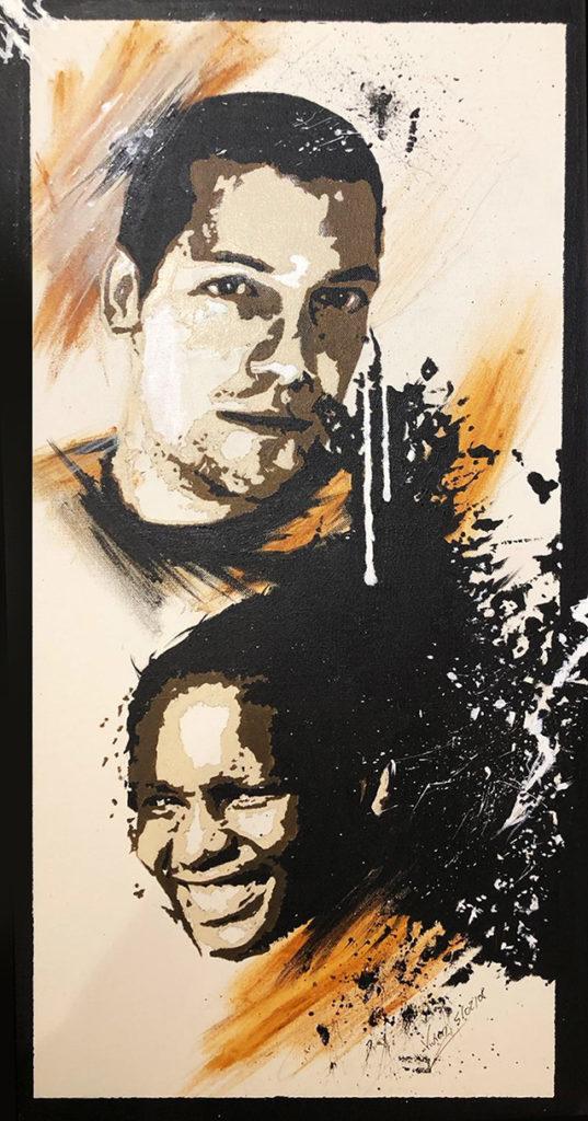 Portrait Christelle et Arnaud 2008 - acrylique portrait - peinture - huile - acrylique - durisotti - vivien - design - experience - durisotti vivien