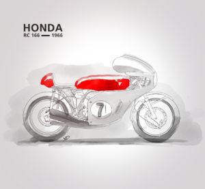 11 novembre 2019 Honda RC 166 - aquarelle - sketch palette couleur - dessin - vivien - durisotti - design - experience - un - jour - un - dessin