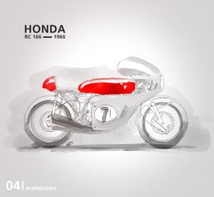 Honda RC 166 - 2019 - waterolor - vivien - durisotti - design - experience