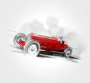 Alfa-Romeo Tipo B / P3 Monoposto - 1932 - dessin - vivien - durisotti - design - experience - un - jour - un - dessin - dessin - vivien - durisotti - design - experience - un - jour - un - dessin