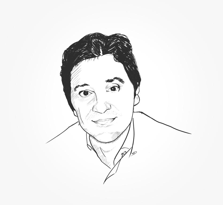 portrait - 2020 - Fil&Fog - Karim - illustrator - noir au blanc - durisotti - design - experience