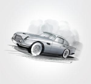 6 Novembre - Aston Martin DB5 - 1963 - dessin - vivien - durisotti - design - experience - un - jour - un - dessin - dessin - vivien - durisotti - design - experience - un - jour - un - dessin