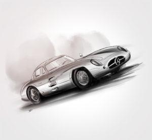 """04 décembre - Mercedes-Benz 300 SLR """"Uhlenhaut Coupé"""" - 1955 - vivien - durisotti - design - experience - un - jour - un - dessin - dessin - vivien - durisotti - design - experience - un - jour - un - dessin"""