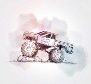 26 août - Monster Trucks - dessin - vivien - durisotti - design - experience - un - jour - un - dessin - dessin - vivien - durisotti - design - experience - un - jour - un - dessin