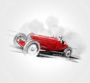 09 octobre - Alfa-Romeo Tipo B / P3 Monoposto - 1932 - dessin - vivien - durisotti - design - experience - un - jour - un - dessin - dessin - vivien - durisotti - design - experience - un - jour - un - dessin