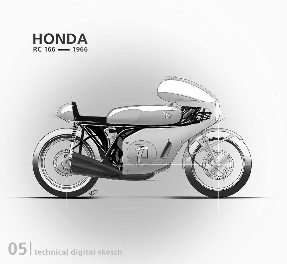 Honda RC 166 - 2019 - sketch - numerique - tablette - vivien - durisotti - design - experience