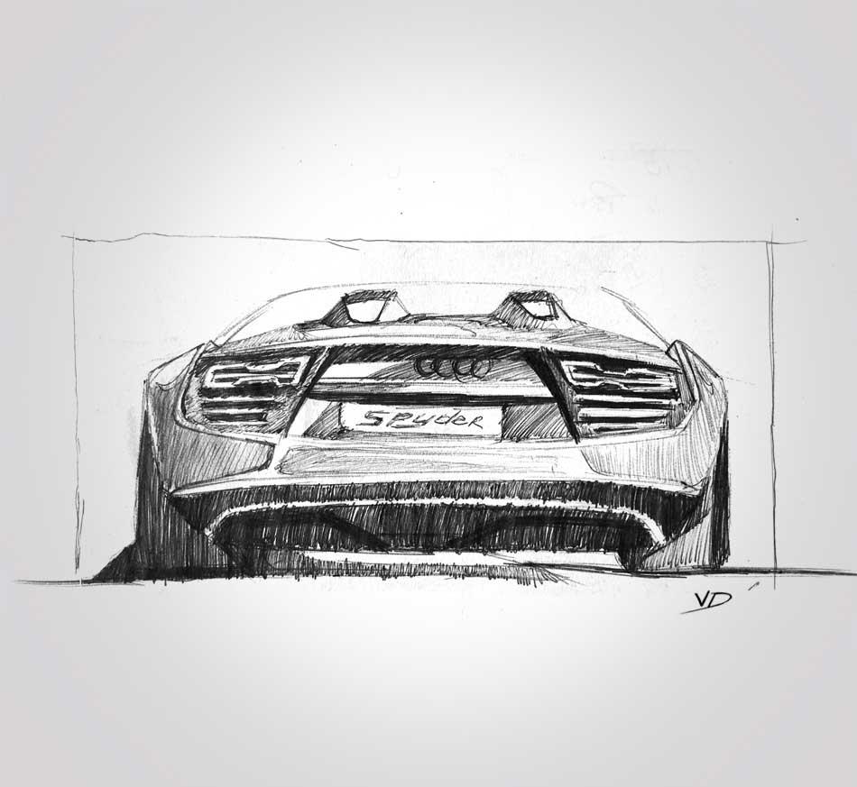 02 sept 2019 - audi R8 - Spyder - dessin - vivien - durisotti - design - experience - un - jour - un - dessin