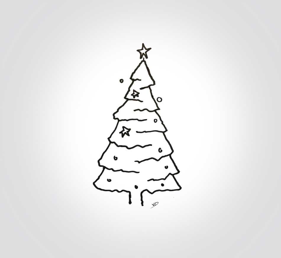 10 décembre 2019 - sapin de Noël - dessin - vivien - durisotti - design - experience - un - jour - un - dessin