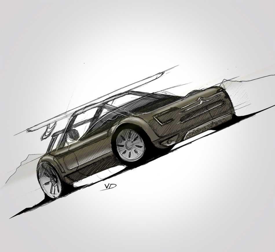 Citroen - sketch - 2019 - recherches - stylos - feutres - pantones - vivien - durisotti - design - experience