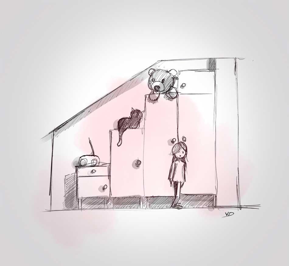 22 septembre - chambre Elise work in progress - dessin - vivien - durisotti - design - experience - un - jour - un - dessin