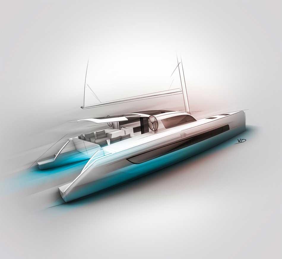 Catamarans - sketch - 2019 - rechercSail - sketch - 2019 - recherches - stylos - feutres - pantones - vivien - durisotti - design - experiencehes - stylos - feutres - pantones - vivien - durisotti - design - experience
