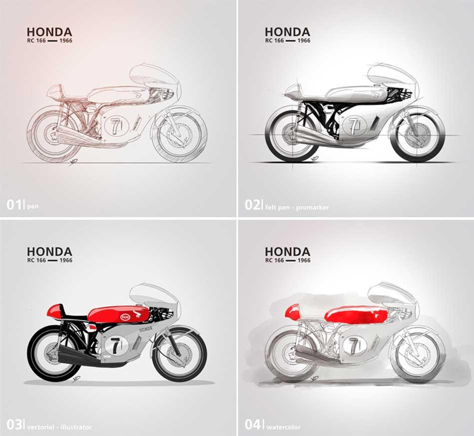 03 décembre 2019 - poster Honda RC 166 - dessin - vivien - durisotti - design - experience - un - jour - un - dessin