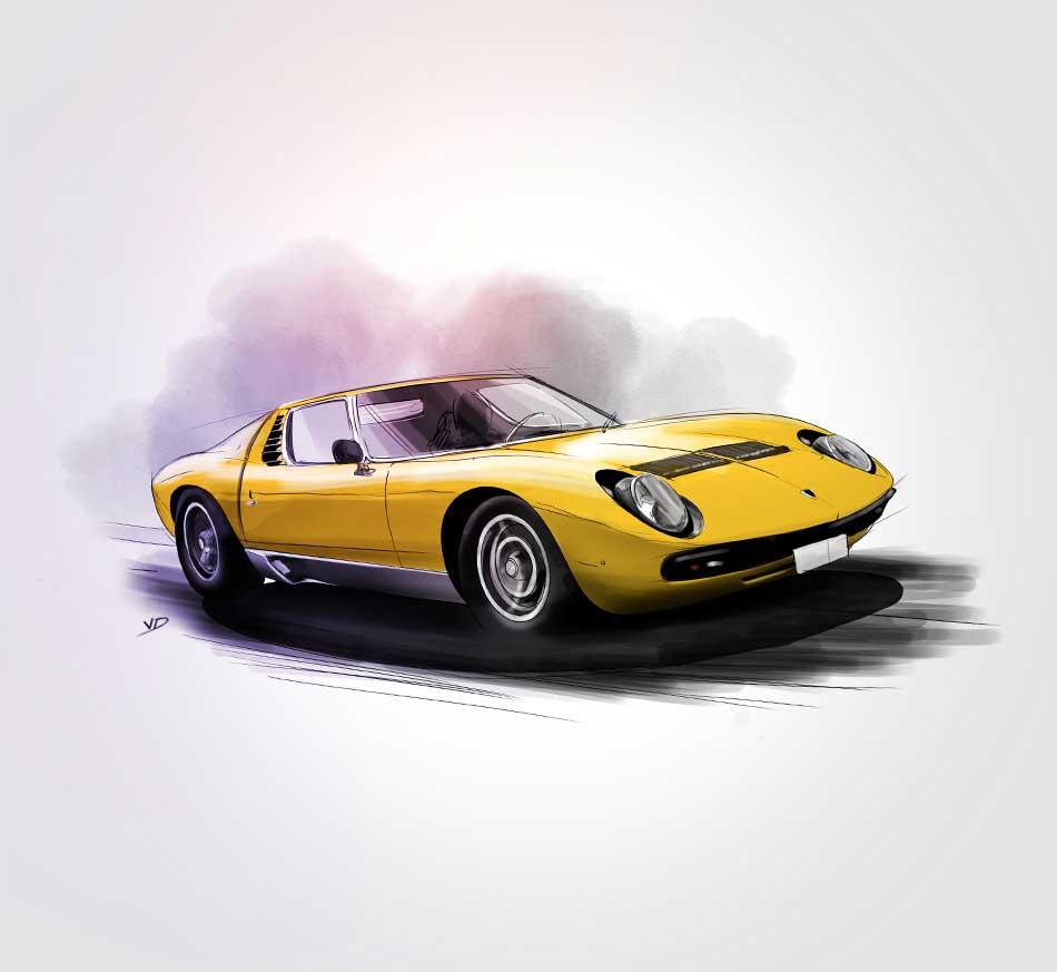 Lamborghini Miura - 1966 à 1973 - durisotti - design - experience - un - jour - un - dessin - dessin - vivien - durisotti - design - experience - un - jour - un - dessin